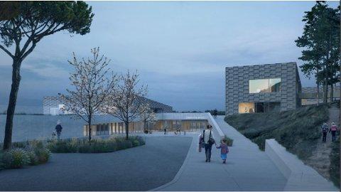 NY SKOLE: Labakken skole på Nøtterøy, som skal stå klar neste høst, vil nå bli utsmykket innvendig ved hjelp av blant annet midler fra Sparebankstiftelsen DNB.