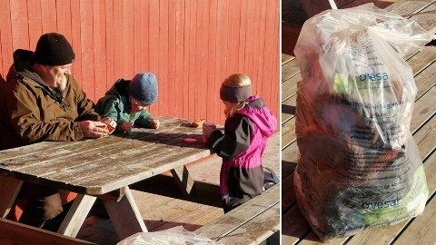 SØPPELPLUKKING: Øistein Svendsen og barnebarna Fredrik (3) og Christina (6) tok seg en ispause etter å ha plukket den første store sekken med søppel. Så gikk de i gang med den andre.