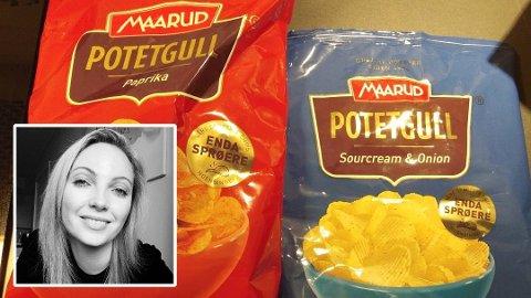 SKUFFET: Tove-Lise Jacobsen ble skuffet over smaken da hun kjøpte potetgull fra Maarud som hun vanligvis liker. Foto: Privat