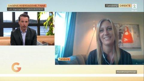 INTERVJU: Slik så det ut da sosiallærer Linn Tveiten ble intervjuet på «God Morgen Norge» torsdag morgen.