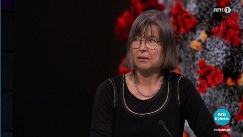 KLAR MELDING: Immunolog Anne Spurkland på Debatten 7. april. Foto: NRK