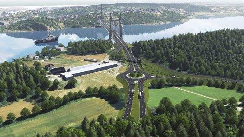 IKKE HELT SLIK: Når reguleringen av Ramberg-Smørbergløsningen nå starter opp, er en av føringene at det ikke lages noen kryssløsning på Smørberg, slik denne illustrasjonen viser. Trafikken fra Nøtterøy skal ledes rett inn i tunnel til nordsiden av Hogsnesbakken.