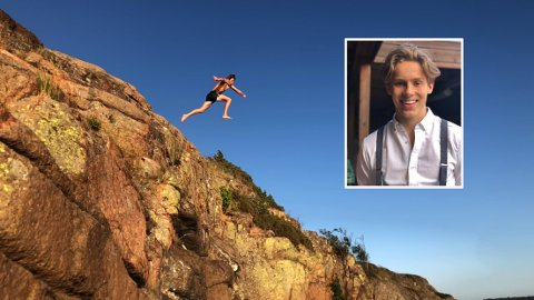 DØDSING: Peder sier det kan være lurt å hoppe fra lave høyder, om man aldri har dødset før.