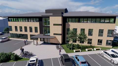 MODERNE: Det nye kontorbygget skal bygges der hvor dagens parkeringsplass ligger. Hvis alt går etter planen skal bygget ferdigstilles en gang ut på våren i 2022.
