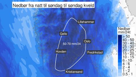 SKALK LUKENE: Prognosene for søndag ser ikke bra ut. Tønsberg-området ligger an til å få de største nedbørsmengdene.