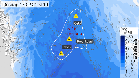 Vestfold er blant områdene på Østlandet som får mest snø i løpet av det neste døgnet.