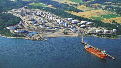 Det her, på raffineriet på Slagentangen, at de tre aktørene vil lage en grønn industripark.