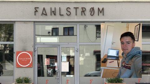 ISOLASJON: Erik Fodstad (innfelt) ble smittet under 17.mai-feiringen på Fahlstrøm. Nå sitter han i isolasjon i leilighet på Lillehammer.