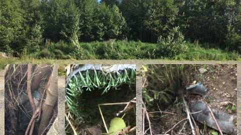 NEDGRAVD: I haugen øverst på bildet er kunstgresset nedgravd. De tre bildene under viser kunstgresset som stikker ut av haugen på baksiden.