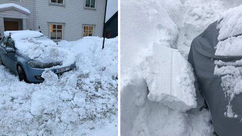 BRØYTESKADER: Snø fra kommunale brøytebiler gjør skader på parkert kjøretøy. De store snømengdene øker antallet henvendelser, sier bydriftsjefen.