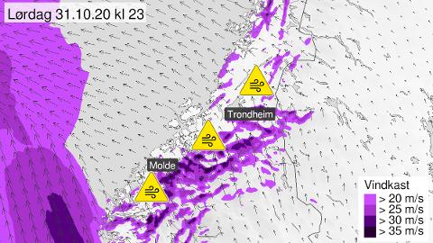 GULT VARSEL: Farevarslet gjelder primært utsatte strøk på kysten og i fjellet i Trøndelag og Møre og Romsdal.