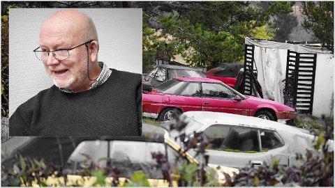 NABO: Knut Olav Dypvik er nærmeste nabo  til bilkirkegråden. - Hvis vi skulle bestemme oss for å selge, vil det få stor betydning, sier han.