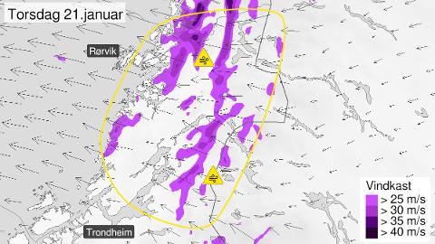 VARSLER UVÆR: Det kan bli en del snøfokk i fjellet dersom værvarselet for torsdag slår til. Meteorologisk institutt har sendt ut gult farevarsel på grunn av vind.
