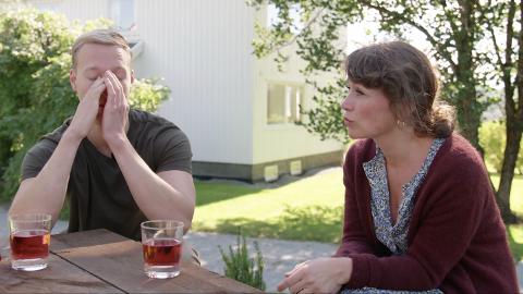 TRIST: Andreas Lillevestre fortalte programleder Gunhild Dahlberg at det ikke hadde gått så bra med ham og Sigrid i sesongens siste episode.