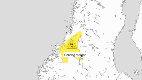 GULT: Også søndag er det sendt ut gult farevarsel om lokalt vanskelig kjøreforhold på grunn av regn som fryser på bakken.