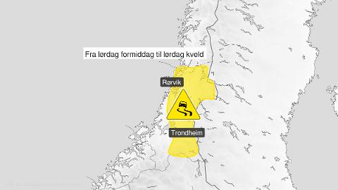 Meteorologisk institutt har gått ut med farevarsel om underkjølt regn fra lørdag morgen for store deler av Trøndelag.