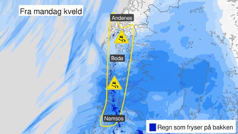 VÅT VINTERFERIE: Meteorologen har ingen gode nyheter for vinterferieuka. På toppen av det hele er det sent ut gult farevarsel på grunn av ising i Nord-Trøndelag og Nordland.