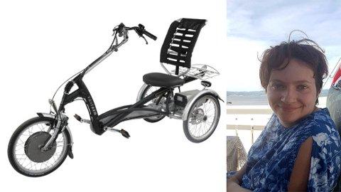 STJÅLET: Nina Sundsby Kvamme (30) ble natt til søndag frastjålet trehjulingen fra boligen sin i Stjørdal. Nå ber familien om hjelp for å finne sykkelen som Nina