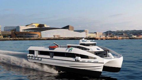 KONSEPT: Her er ett av konseptene til hurtigbåten som er under utvikling, Flying foil med partnerne Brødrene Aa, NTNU og Westcon.