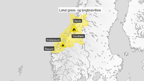 GULT NIVÅ: Farevarselet gjelder for Trøndelag og Møre og Romsdal.