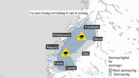 KAN BLI VÅTT: Det er fare for styrtregn tirsdag ettermiddag og kveld i sørdelen av Trøndelag.