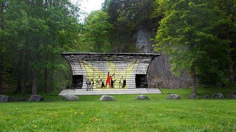 Første idèskisse: Mannskoret har fått arkitekt Tom Wike til å tegne en første illustrasjon av hvordan scenen kan bli.