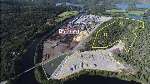 Stort område: Omrissene – ca. 140 da – er tomtearealet som skal opparbeides til Biozin®fabrikken.