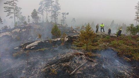 Slokkingsarbeidet er i gang etter at brannfolkene har fått slanger frem til området.