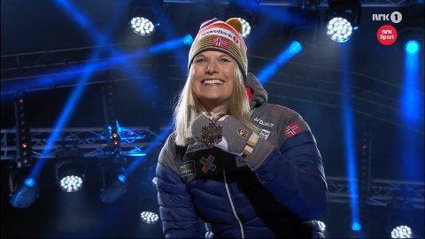 VM-medalje: Det var en tydelig rørt Mari Eide som fikk sin bronsemedalje fredag.
