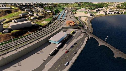 Hønefoss: Planen er firefelts E16 og dobbeltspora høgfartsbane fram til Hønefoss.