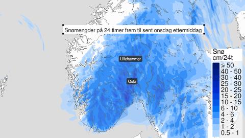 Snø: Meteorologisk institutt har sendt ut gult farevarsel om mye snø i hele Innlandet og områdene rundt.