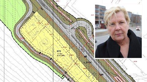 DYRTKRYSS:Ordfører Hilde Thorkildsen innfelt i plantegning av avkjøringa til den nye storskolen i Hakadal.