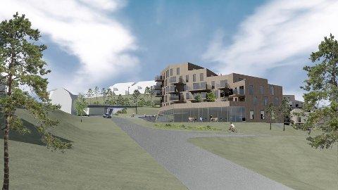BLOKKLEILIGHETER: Første byggetrinn i Rotneshagen blir nærmest Stasjonsveien. Her blir det næringsarealer i sokkeletasjen og 40 leiligheter i etasjene over.