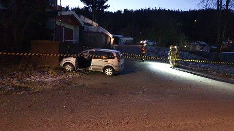 KOLLIDERT: Fra ulykkesstedet i Steinbråten.