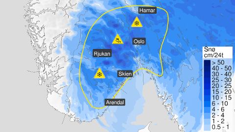 GULTFAREVARSEL:Kart som viser hvor det mandag kan komme 10 til 20 centimeter snø.