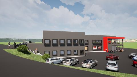 GANSKE OMFATTENDE: Planen er at Ånebysenteret, der Meny-butikken holder til, skal oppgraderes både innvendig og utvending. Gårdeier Geir Skari understreker at dette er en tidlig skisse og ikke en endelig beskrivelse av hvordan bygget blir.