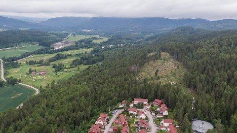 NORDIHAKADAL: Dronebilde av Bjørnholtlia, der en vedtatt områdeplan legger til rette for 300 boliger i forlengelse av Kalkbrennerveien (som vi ser nederst i bildet) og resten av boligområdet sørover mot Tøyenhaugen.