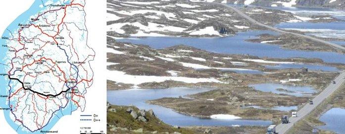 Det er over Haukeli vegvesenet anbefaler at den nye satsingsveien mellom øst og vest skal gå. Den vil kunne ta med seg Vestlandet fra Stavanger til Bergen og konkurrerer ut RV7.