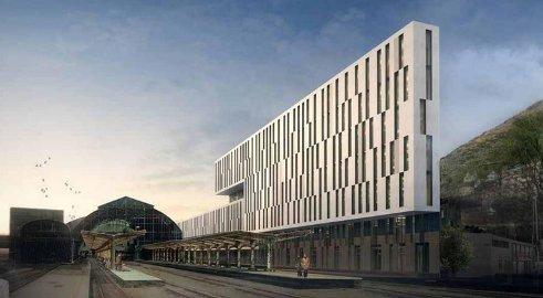 Omtrent slik blir det nye kontorbygget Rom Eiendom realiserer rett ved Bergen stasjon. Illustrasjon: Rom Eiendom