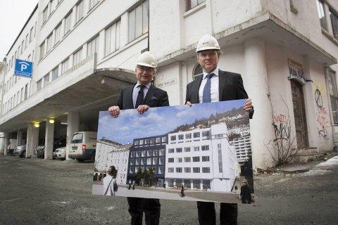 Herman Friele og Kjetil Smørås går sammen for å bygge et nytt hotell like ved Grand Hotel Terminus. Foto: Arne Ristesund