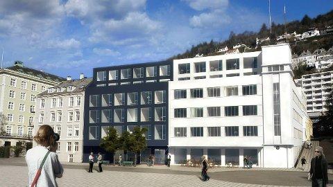 Slik ser arkitektene for seg at det nye hotellet i Jægergården vil se ut når det står ferdig. Illustrasjon: Claesson Koivisto Rune/Forum arkitekter
