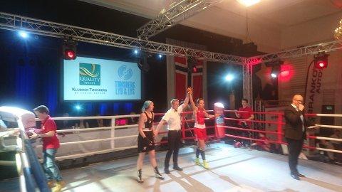 Klubbvenninnene Madeleine Angelsen og Åshild Søråker møttes i finalen i 64-kilos klassen i bokse-NM, og som ventet var Madeleine best. Men Åshild får skryt av treneren for innsatsen.