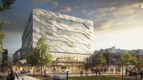 Visualisering av det planlagte Kulturkvartalet i Vestby