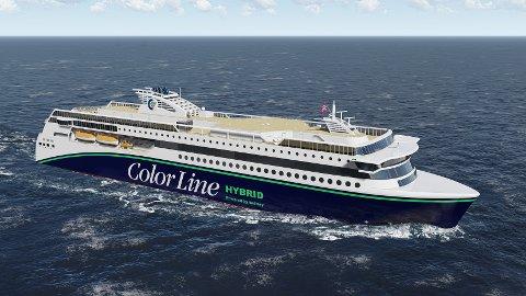 ELEKTRISK DRIFT: Det nye hybridskipet vil benytte seg av batteridrift når det kjører inn og ut av Sandefjordsfjorden, og dermed bruke mindre drivstoff enn dagens ferjer.