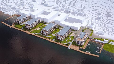 UTSIKT: Blokk fire og fem (t.v.) består av 42 leiligheter ved vannkanten. Illustrasjon: Spir arkitekter
