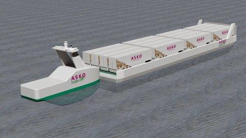 LEKTER: Asko ser for seg store lektere med 16 trailervogner, og en elektrisk, førerløs båt, spekket med framdrifts- og styringsteknologi fra Kongsberg Maritime i Horten, til å skyve dem mellom Østfold og Vestfold.