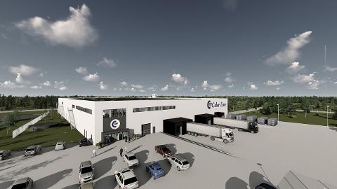 SLIK SKAL DET BLI: Det nye logistikksenteret i Hirtshals, Danmark. (Illustrasjon: Color Line)