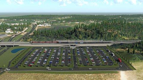 NY STASJON: Den nye stasjonen på Skoppum får adkomst direkte fra rv. 19. Det blir innfartsparkering som kan bygges ut til å romme ca. 600 biler. Illustrasjon: Bane NOR
