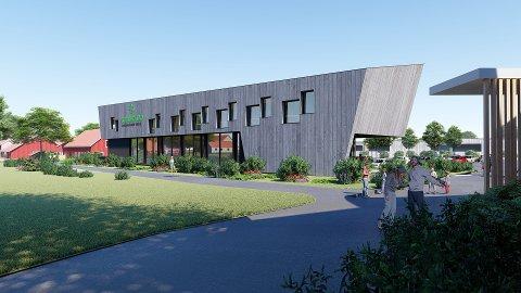 MODERNE: Det nye bygget vil bli seende slik ut når det står klart en gang på slutten av året. Daglig leder ved Gjennestad Drift, Geir Fossnes, forteller at dette vil stå som et eksempel på fremtidens miljøvennlige byggemåte.