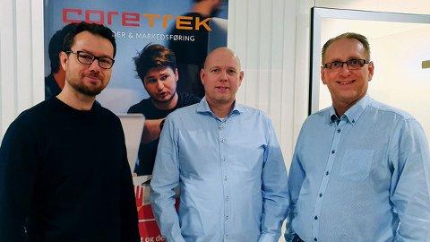 Terje Henden og Thomas Ekdahl fra Empatrix og administrerende direktør Kristian Susnic fra CoreTrek.